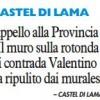 Appello alla Provincia «Il muro sulla rotonda di contrada Valentino va ripulito dai murales»