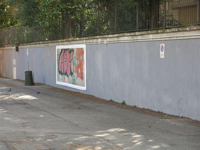 Il muro dell'ingresso ripulito