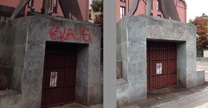 Prima e dopo monumento Unms